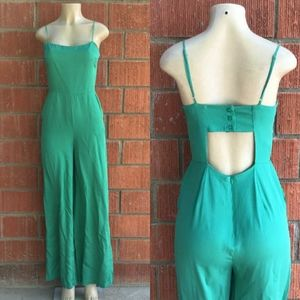 RE:NAMED Chic Vivid Green Wide Leg Jumpsuit